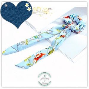 NEW Blue Floral Chiffon 2 Piece Scrunchy